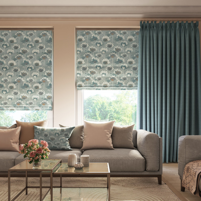 Crosby Spa Roman Blinds And Rattan Kingfisher Curtains