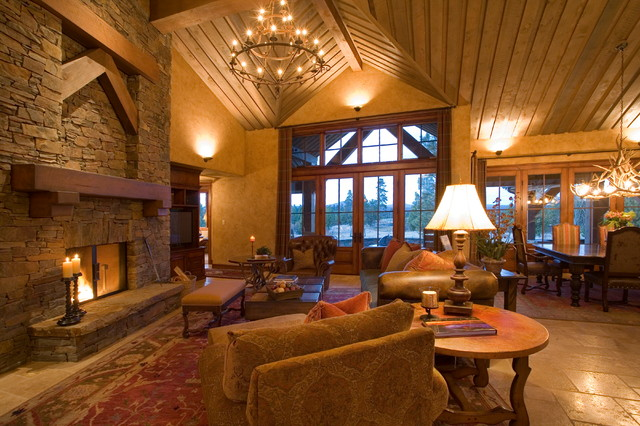Gentil Crosswater Ski Lodge Traditional Living Room