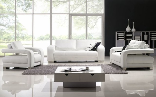 Charmant Crystal Leather 3 Piece Sofa Set Modern Living Room
