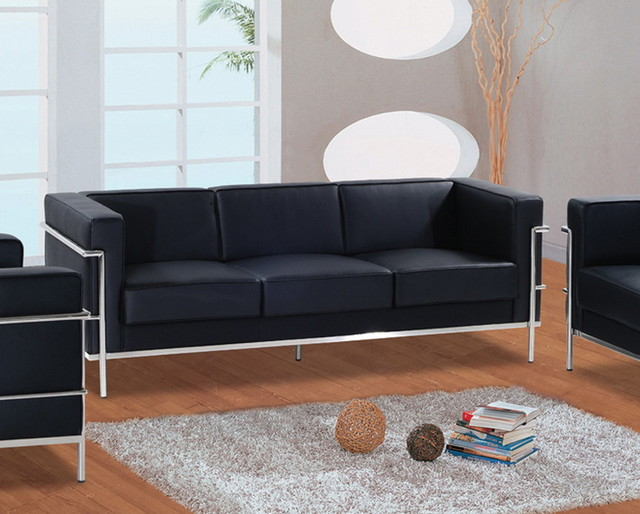 Cubist modern leather sofa black modern living room for All modern furniture locations