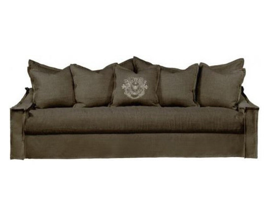 Curations Limited Brown Linen Leuven Sofa - Casual yet elegant, this brown linen Leuven sofa is a relaxed option for your home decor. Quality craftsmanship is the cornerstone of this design which boasts hardwood construction and eight-way hand tied spring suspension. This skirted slipcover design has coordinating back cushions crafted of 20% down and 80% feather wrapped around a 4 1/2 inch foam core to lend a sink-in experience of comfort. Legs are made of hardwood ash and the sofa includes five pillows.