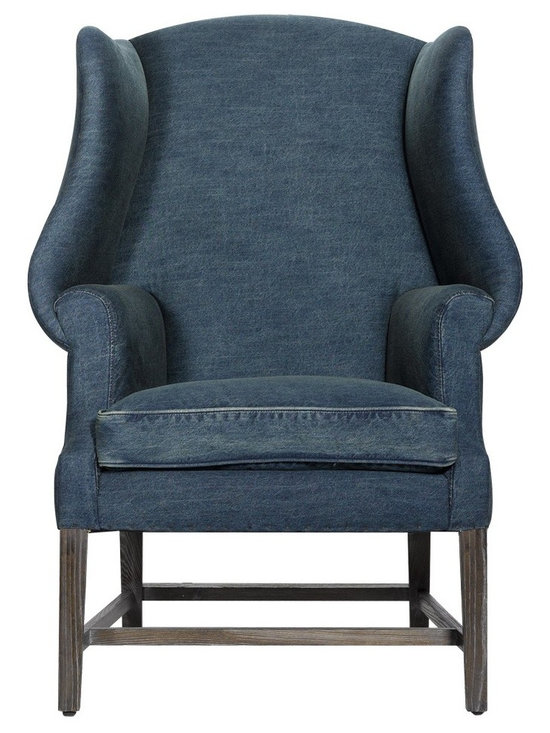 Curations Limited New Age Denim Chair - Dimensions:33.5W x 48H x 31.75D