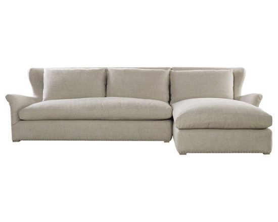 Curations Winslow Sectional Beige Linen - Curations' Winslow Sectional is a beautiful wing back sectional in a beige linen with a slight flair arm. Matching seat and back cushions consist of 50/50 feather down with a fiber wrapped cushion core. The hardwood frames are eight way hand tied by a spring coil suspension.