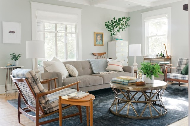 living room makeover with roman shades transitional living
