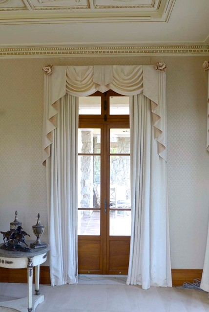Valance curtains with swags and tails by celuce com traditional living - Curtains