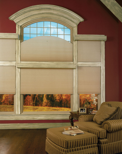 Curved top window treated with honeycomb shade - Most popular window treatments ...