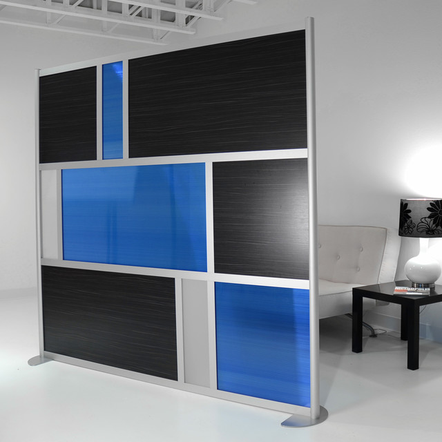 Custom 7 Modern Room Divider Madagascar Wood and Translucent