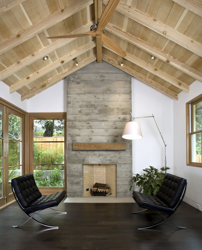 Living room - transitional living room idea in San Francisco with a concrete fireplace