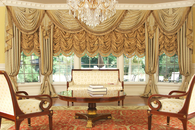 Custom and luxury drapery for large bay window for Traditional curtains for living room