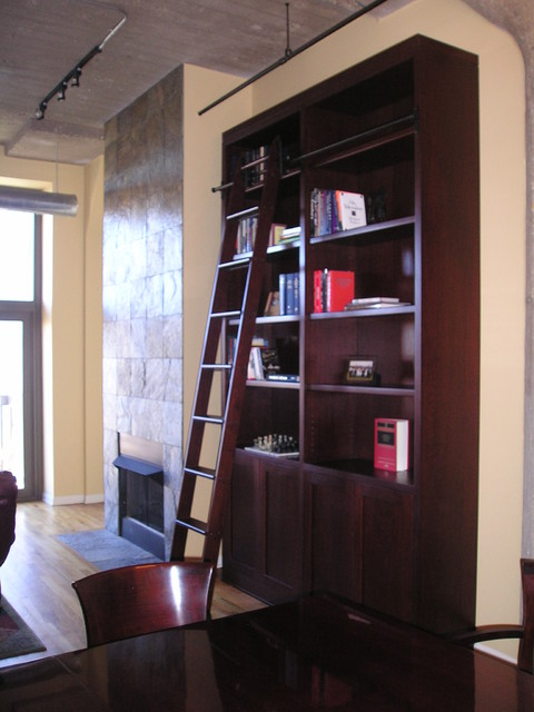 Custom Bookcase & Rolling Ladder contemporary-living-room