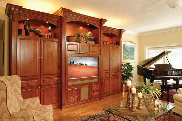 Custom built cherry entertainment center traditional Entertainment living room furniture