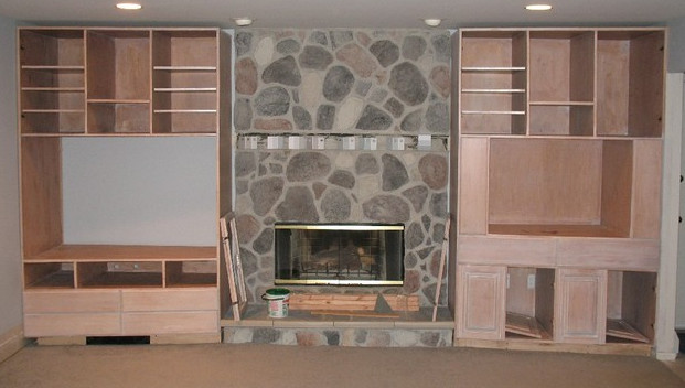 Custom Built Entertainment Center & Fireplace Surround - Traditional - Living Room - New York - by Oak Mountain Custom Woodwork