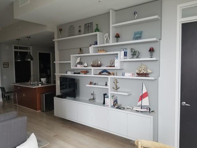 Living room - small modern loft-style living room idea in DC Metro