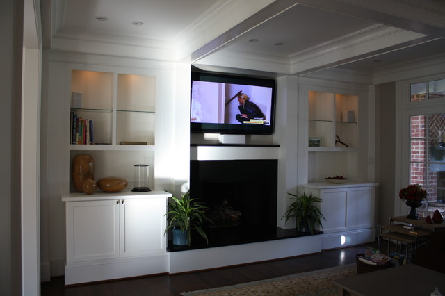 Custom built ins for living room eclectic living room for Built ins living room ideas