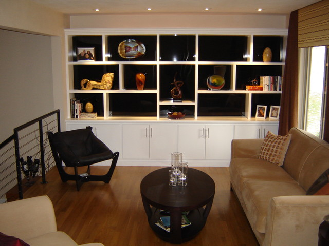 Custom built ins modern living room st louis by fulford home remodeling for Built in designs living room