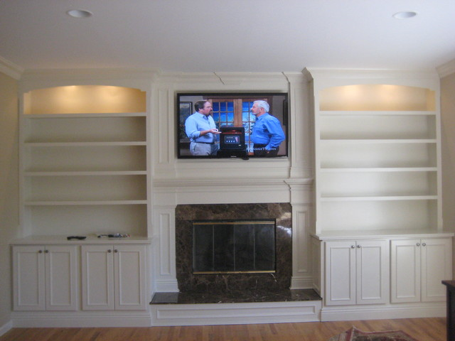 Custom built mantle, cabinets and bookshelves - Traditional - Living ...
