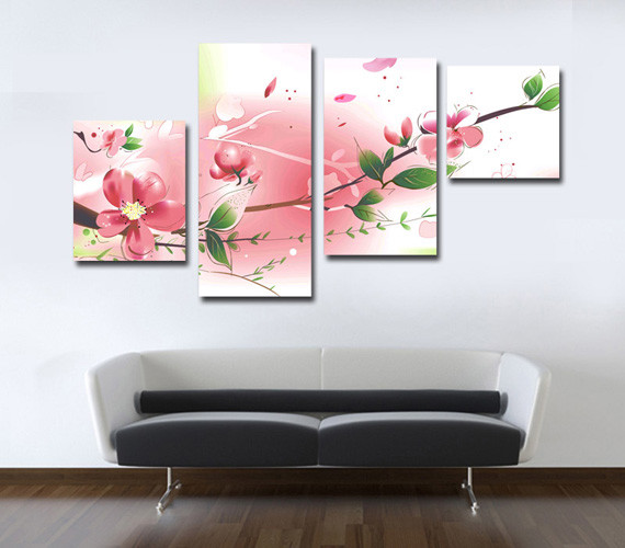Custom Canvas Prints Pink Color Painting Living Room Atlanta By Canvas Champ