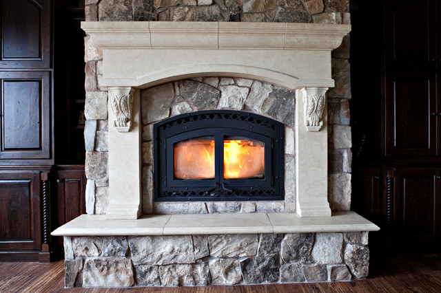 Custom Cast Stone Concrete Fireplace Mantel Surrounds