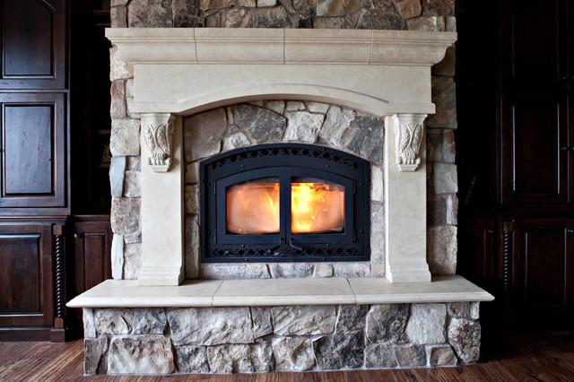 Custom Cast Stone Concrete Fireplace Mantel Surrounds Traditional Living Room Salt Lake