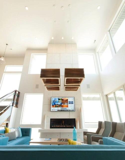 Custom Cast Stone Fireplace Mantel Surrounds contemporary-living-room