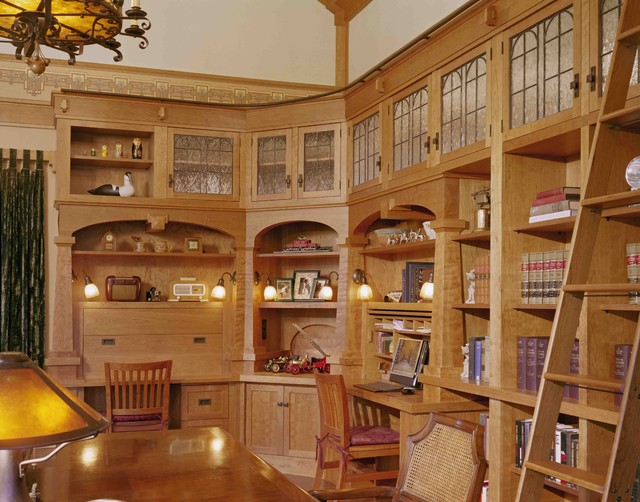 Custom cherry library, wallpaper, leaded glass cabinet doors ...