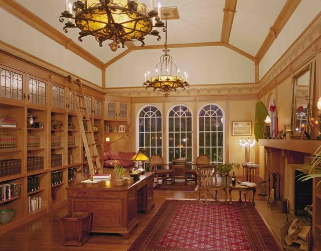 Custom Cherry Library Wallpaper Leaded Gl Cabinet Doors
