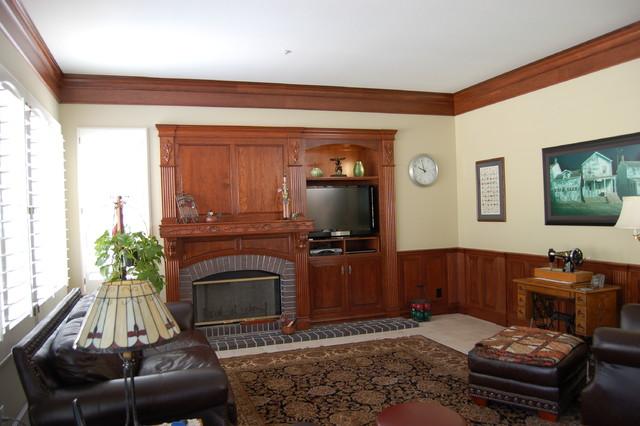 Custom Cherry wood mantel and wall unit.