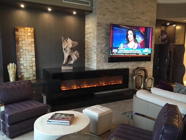 Custom Curved Soundbar For A Curved TV Contemporary Living Room Minneap