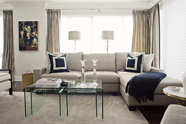 Custom draperies soft furnishings contemporary living room toronto by q design for Contemporary window treatments for living room