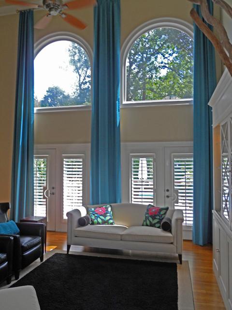 Custom Draperies Two Story Traditional Living Room