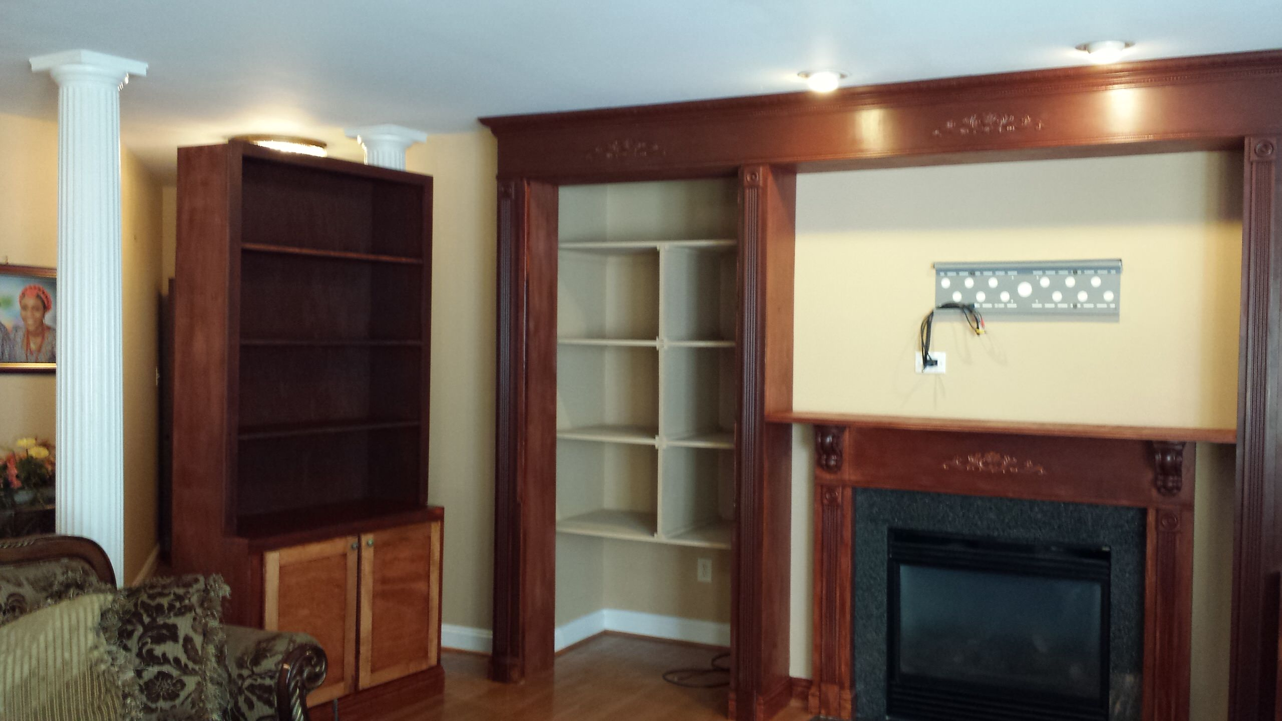 Custom entertainment center and fireplace mantel