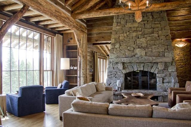 Custom Fireplace Door Rustic Living Room