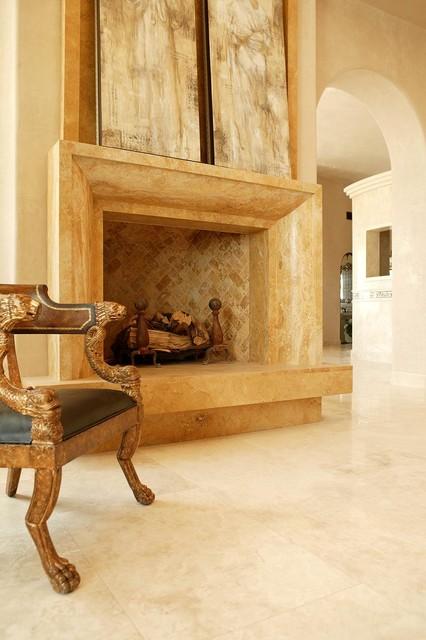 Custom Fireplace in Authentic Durango Dorado™ mediterranean-living-room