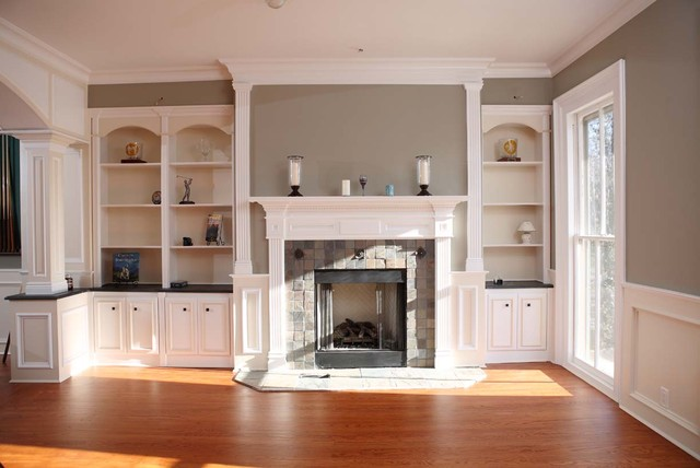 Custom Fireplace mantles, build-ins - Traditional - Living Room - new york - by Trim Team NJ