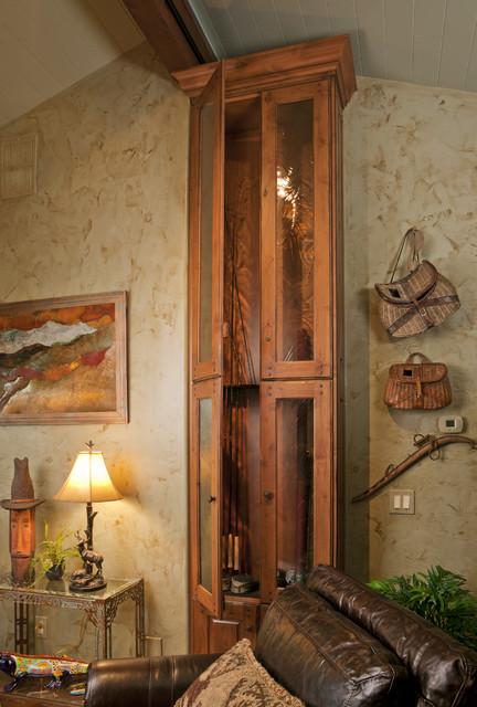 Gentil Custom Fishing Rod Cabinet Rustic Living Room