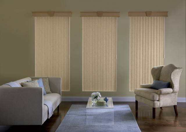 Custom fit vertical blinds traditional living room for Living room vertical blinds