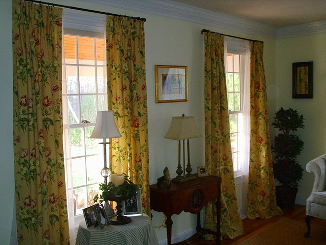 Custom Floral Drapery Panels with Sheers