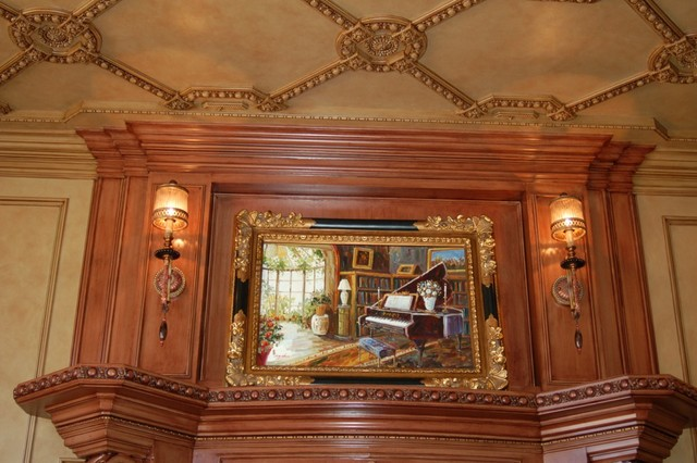 Custom Glazed and Stained Ceiling, Walls, Fireplace traditional-living-room