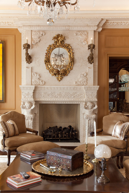 Custom Hand Carved Stone Fireplace Mantle And Antique Furniture  Mediterranean Living Room