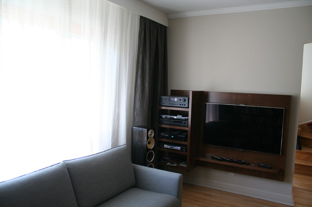 Custom Hi Fi Wood Unit Modern Living Room Montreal