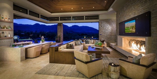 Charming Custom Home Palm Desert Indoor Outdoor Living Contemporary Living Room
