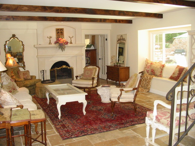 Custom Home Remodel French Country Living Room Mediterranean