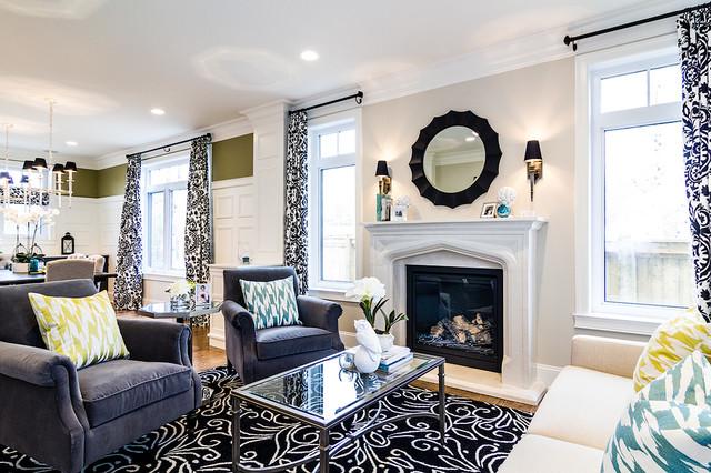 Custom Home - U traditional-living-room