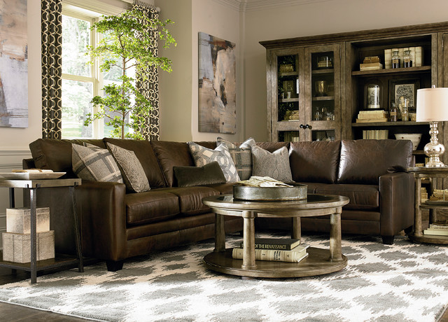 Custom Leather Ladson Sectional by Bassett Furniture contemporary-living-room : bassett leather sectional - Sectionals, Sofas & Couches