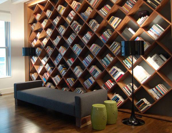 Custom Library Modern Living Room