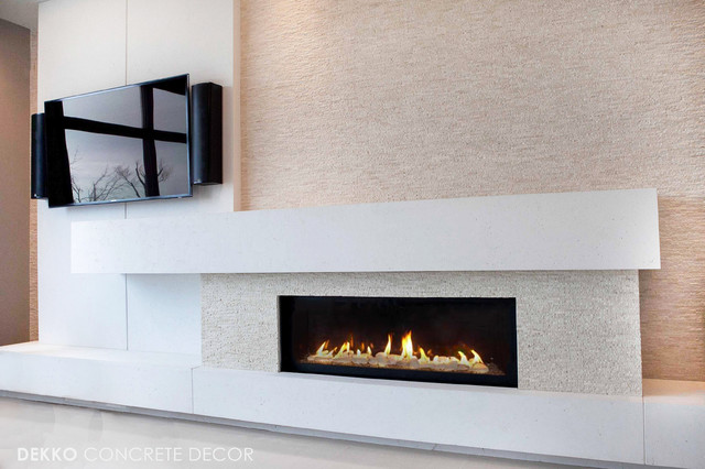Custom Lightweight Concrete Mantel Modern Living Room