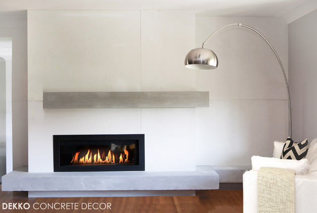 Custom Lightweight Concrete Mantel - Modern - Living Room ...