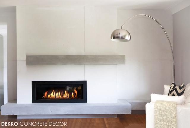 Custom Lightweight Concrete Mantel Modern Living Room