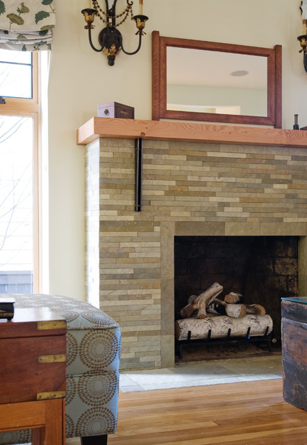 Custom Metal And Wood Fireplace Mantel Modern Living