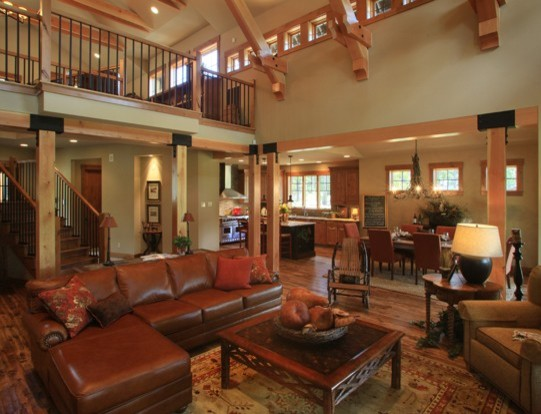 custom mountain home suncadia traditional living room seattle